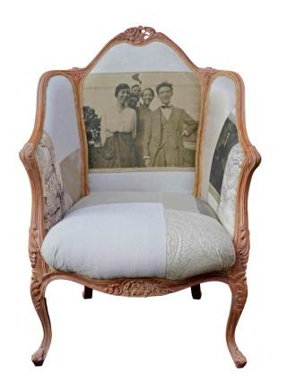 Vintage linen photo chair