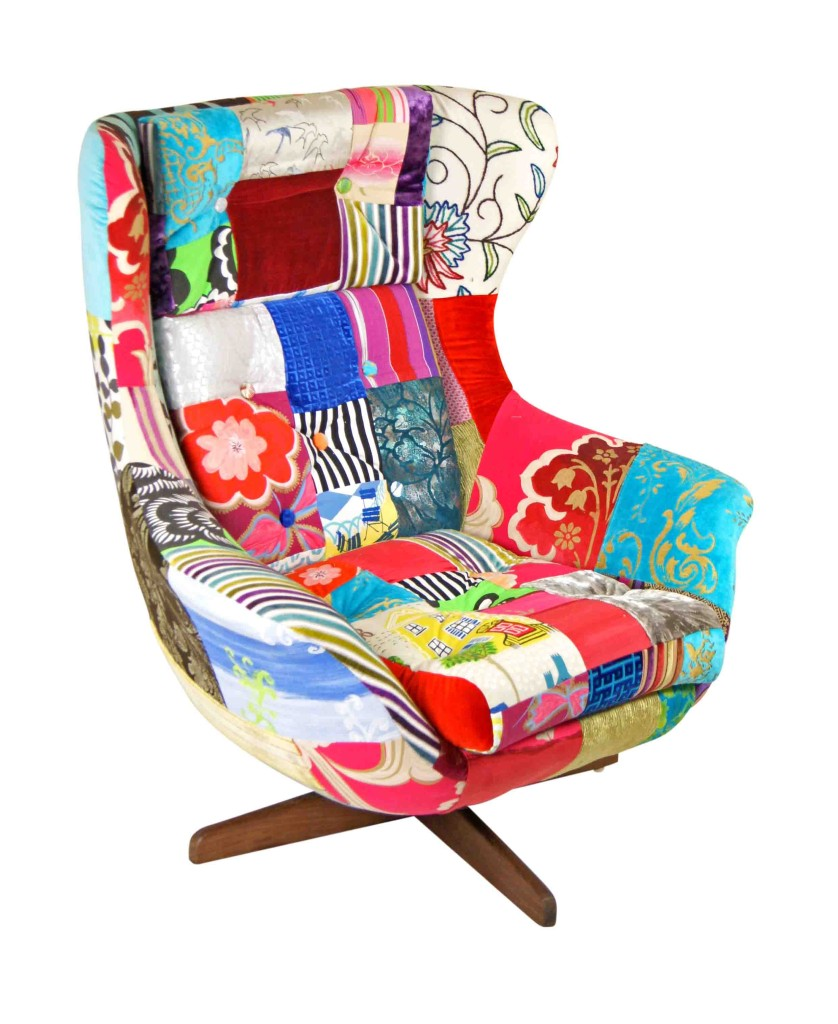 vintage patchwork egg chair kelly swallow bespoke chairs. Black Bedroom Furniture Sets. Home Design Ideas