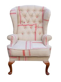 Mangle Cloth Wing Chair – Red Stripe