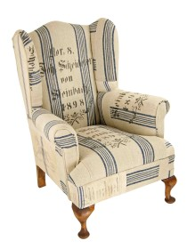 1898 Antique Grain Sack Wingback Chair