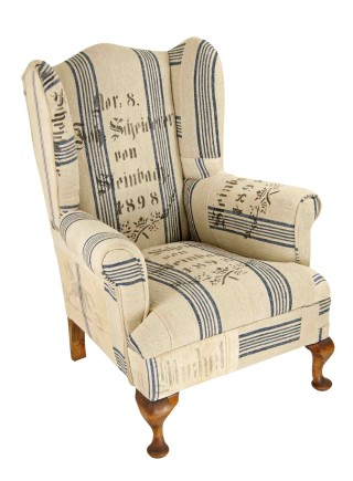 1898 Antique Grain Sack Wingback Chair