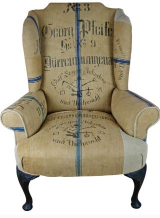 1924 German Grain Sack Wing Chair