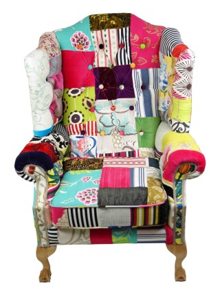 Buttoned Wings Patchwork Chair