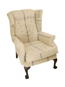 Wing Back German Grain Sack Chair