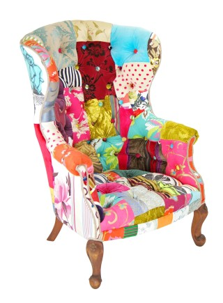 Button King Patchwork Wing Chair