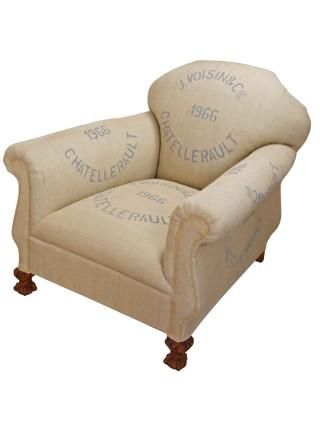 1966 French Grain Sack Club Chair