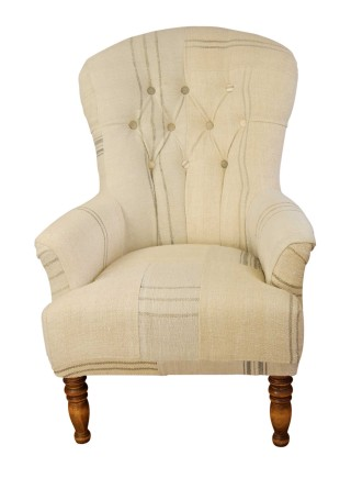 Buttoned Spoonback Vintage Chair – Hungarian Grain Sack