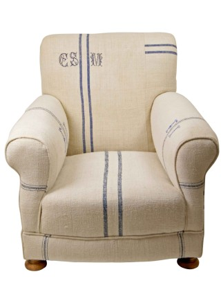 Embroidered Hungarian Grain Sack Armchair