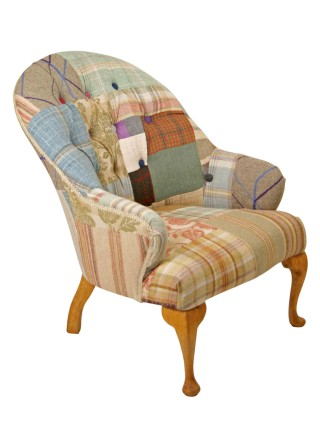 Tartan Tweed Buttoned Chair