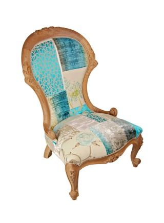 Beauty Blue Wooden Frame Chair
