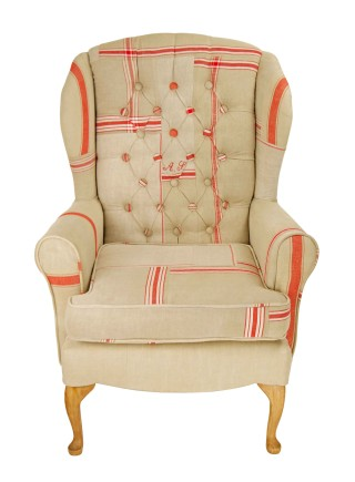 Mangle Cloth Vintage Linen Wing Chair