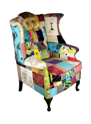 Scrolling Wings Patchwork Chair