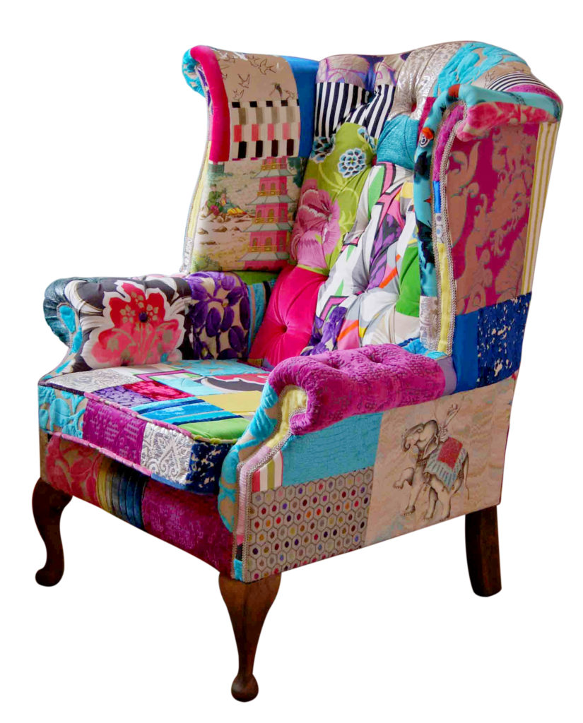 Fulham Mad Hatter Wing Patchwork Chair. SHARE; Twitter · Facebook · Pinterest  sc 1 st  Kelly Swallow & Fulham Mad Hatter Wing Patchwork Chair | Kelly Swallow Bespoke Chairs