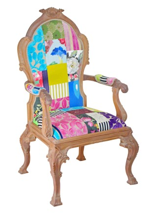 Medusa Carved Wooden Patchwork Chair