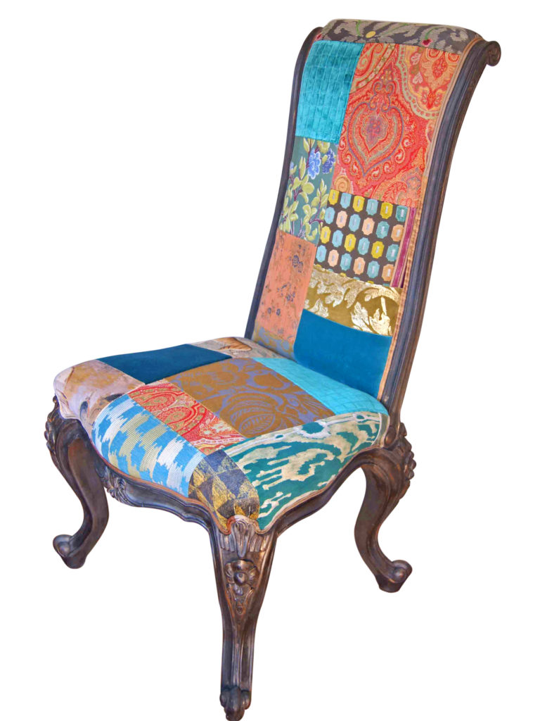 Tall Teal Patchwork Chair | Kelly Swallow Bespoke Chairs