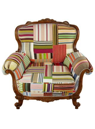 Striped Louis Patchwork Armchair